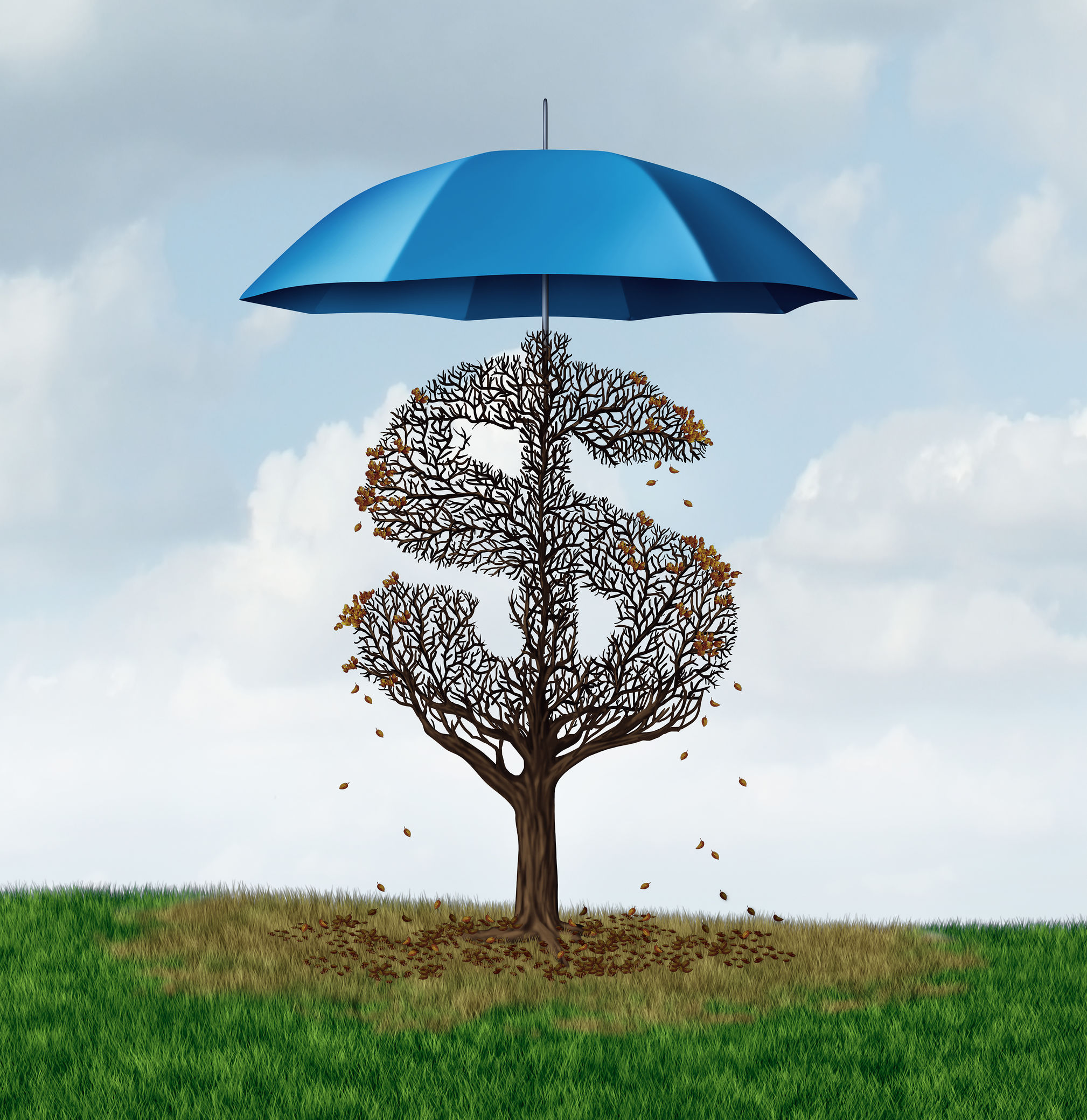 Economic protectionism policy and financial closed trade restrictions as a tree shaped as a money dollar sign losing leaves due to a security umbrella blocking needed sun and rain resulting in business damage and disadvantage.
