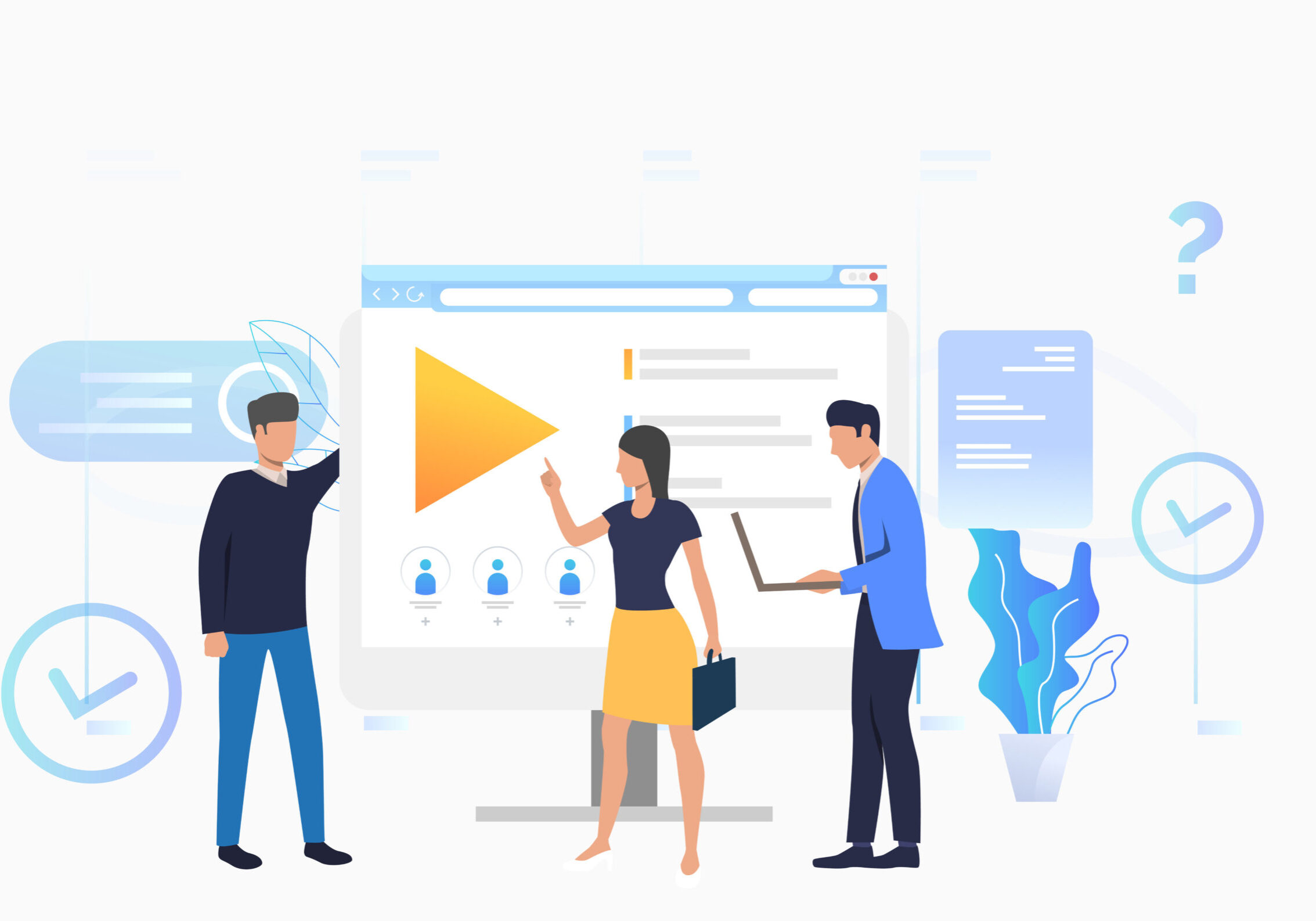 Businessmen and businesswoman talking at desktop vector illustration. Online training, distance learning, e-learning. Online courses concept. Can be used for landing pages, presentations, layouts